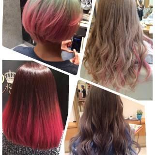 レッド ピンク アッシュ ストリート ヘアスタイルや髪型の写真・画像