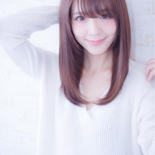 ミディアム コンサバ ストレート 艶髪 ヘアスタイルや髪型の写真・画像