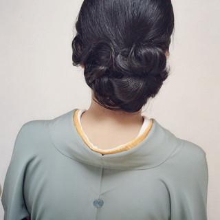 セミロング 結婚式 和服 ヘアアレンジ ヘアスタイルや髪型の写真・画像