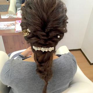 大人女子 ラフ 結婚式 編み込み ヘアスタイルや髪型の写真・画像