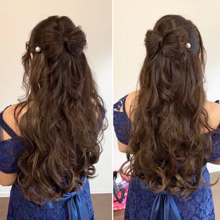ロング ガーリー リボンアレンジ リボン ヘアスタイルや髪型の写真・画像