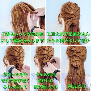 ハーフアップ 編み込み ヘアセット 編み込みヘア ヘアスタイルや髪型の写真・画像