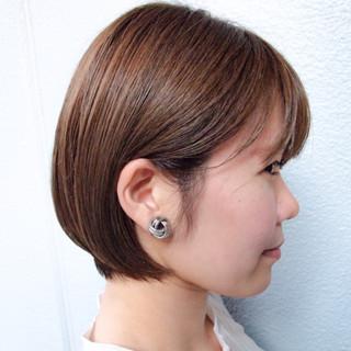 ミニボブ ナチュラル グレージュ ショートボブ ヘアスタイルや髪型の写真・画像