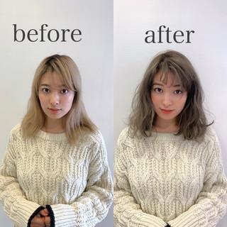 ミルクティーグレージュ ナチュラル グレージュ ミディアム ヘアスタイルや髪型の写真・画像