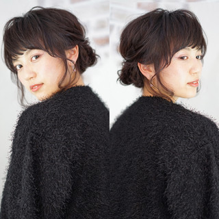 アッシュ ショート ミディアム 簡単ヘアアレンジ ヘアスタイルや髪型の写真・画像