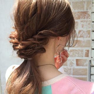 ショート パーマ ハーフアップ ミディアム ヘアスタイルや髪型の写真・画像