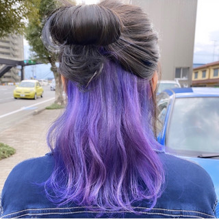 ハイトーン パープル セミロング ハイトーンカラー ヘアスタイルや髪型の写真・画像