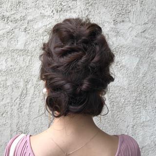 簡単ヘアアレンジ ヘアアレンジ ナチュラル セミロング ヘアスタイルや髪型の写真・画像