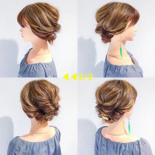 デート ボブ ヘアアレンジ フェミニン ヘアスタイルや髪型の写真・画像