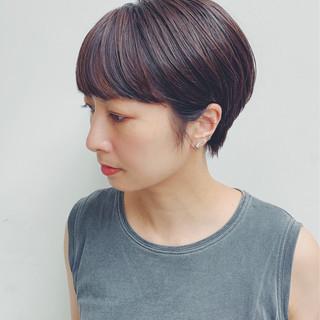 モード 黒髪 ブラウンベージュ ショート ヘアスタイルや髪型の写真・画像