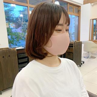 切りっぱなしボブ 前髪 ナチュラル 韓国風ヘアー ヘアスタイルや髪型の写真・画像