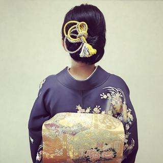 セミロング 上品 エレガント 着物 ヘアスタイルや髪型の写真・画像