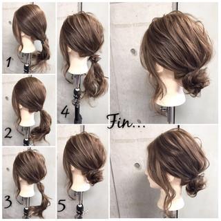 女子会 ヘアアレンジ セミロング オフィス ヘアスタイルや髪型の写真・画像