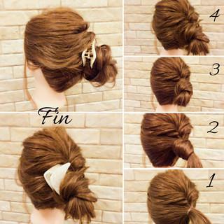 簡単ヘアアレンジ 大人女子 ナチュラル ミディアム ヘアスタイルや髪型の写真・画像