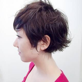 ウェットヘア ウェーブ ショート ストリート ヘアスタイルや髪型の写真・画像