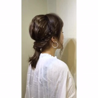波ウェーブ 編み込み 夏 ヘアアレンジ ヘアスタイルや髪型の写真・画像
