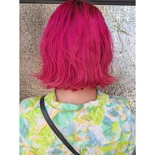 ミニボブ 切りっぱなしボブ ラベンダーピンク ピンク ヘアスタイルや髪型の写真・画像