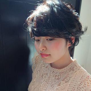 黒髪 デート ショート 前髪 ヘアスタイルや髪型の写真・画像
