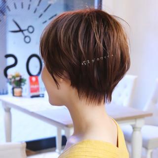 パーマ ショートボブ ナチュラル デート ヘアスタイルや髪型の写真・画像