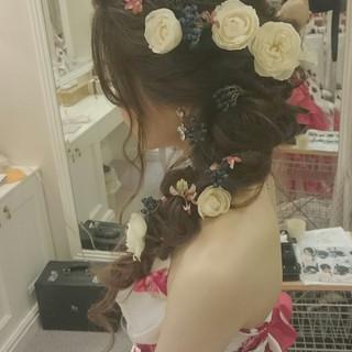 ロング ドレス パーティ ヘアアレンジ ヘアスタイルや髪型の写真・画像