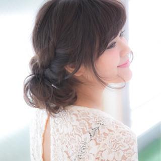 フェミニン ハーフアップ 簡単ヘアアレンジ ショート ヘアスタイルや髪型の写真・画像