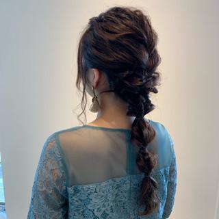 玉ねぎ 編みおろし ヘアアレンジ エレガント ヘアスタイルや髪型の写真・画像