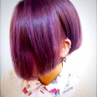 アッシュバイオレット ピンク パープル モード ヘアスタイルや髪型の写真・画像