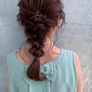 大人女子 ヘアアレンジ 編みおろし セミロング ヘアスタイルや髪型の写真・画像