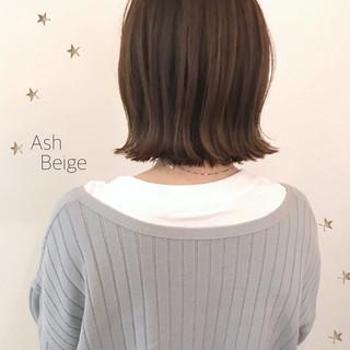 ミディアム 大人かわいい 切りっぱなし ボブ ヘアスタイルや髪型の写真・画像