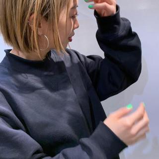 ブロンドカラー ストリート ハイライト ミニボブ ヘアスタイルや髪型の写真・画像
