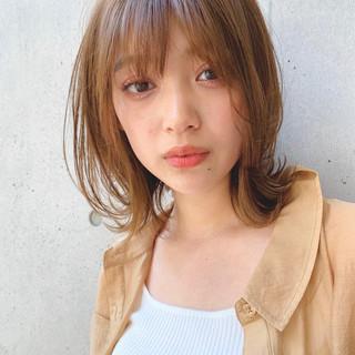 ミディアム ヘアアレンジ 透明感カラー 鎖骨ミディアム ヘアスタイルや髪型の写真・画像