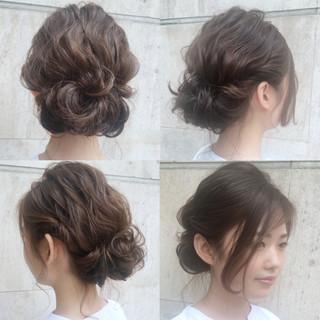 ミディアム 大人かわいい ゆるふわ 結婚式 ヘアスタイルや髪型の写真・画像