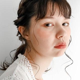 ミルクティーベージュ シアーベージュ 簡単ヘアアレンジ ミディアム ヘアスタイルや髪型の写真・画像