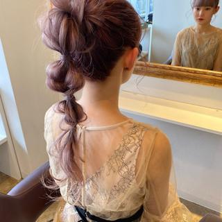 簡単ヘアアレンジ セルフヘアアレンジ 結婚式ヘアアレンジ エレガント ヘアスタイルや髪型の写真・画像