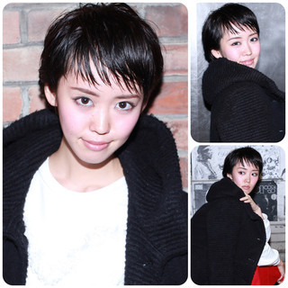 黒髪 グレージュ モード 暗髪 ヘアスタイルや髪型の写真・画像