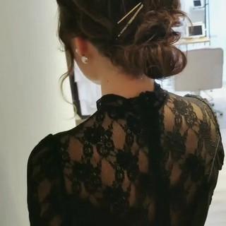 結婚式ヘアアレンジ エレガント セミロング ヘアアレンジ ヘアスタイルや髪型の写真・画像