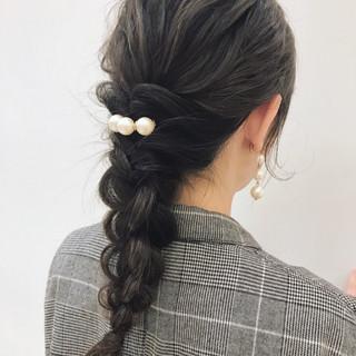 ナチュラル ウェーブ 結婚式 ミディアム ヘアスタイルや髪型の写真・画像