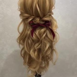 ガーリー ヘアアレンジ 大人可愛い ハーフアップ ヘアスタイルや髪型の写真・画像