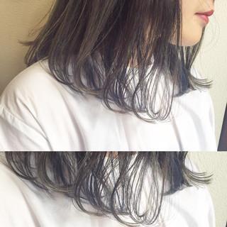 インナーカラー ハイライト ミディアム 外国人風 ヘアスタイルや髪型の写真・画像