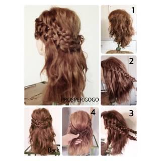 二次会 コンサバ ウォーターフォール セミロング ヘアスタイルや髪型の写真・画像