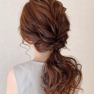 ナチュラル ヘアアレンジ お呼ばれ 結婚式 ヘアスタイルや髪型の写真・画像