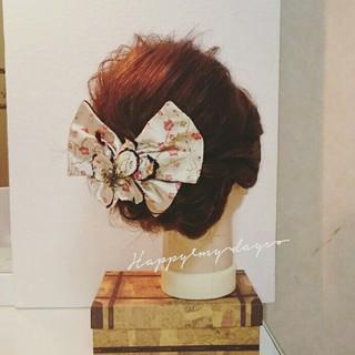 着物 和装 夜会巻 セミロング ヘアスタイルや髪型の写真・画像