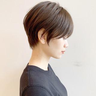 ショート ショートボブ ハンサムショート 黒髪 ヘアスタイルや髪型の写真・画像