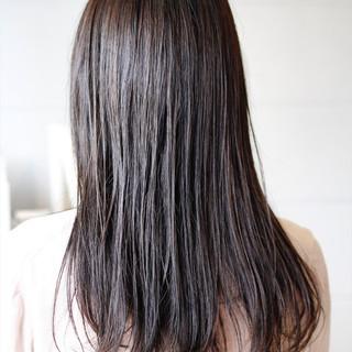 ロング 黒髪 ゆるナチュラル アッシュ ヘアスタイルや髪型の写真・画像