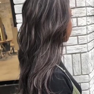 3Dハイライト 外国人風カラー セミロング コントラストハイライト ヘアスタイルや髪型の写真・画像