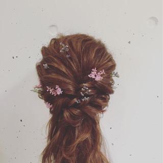 ゆるふわ ハーフアップ 簡単ヘアアレンジ フェミニン ヘアスタイルや髪型の写真・画像