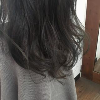 グラデーションカラー ブルージュ ロング ネイビー ヘアスタイルや髪型の写真・画像