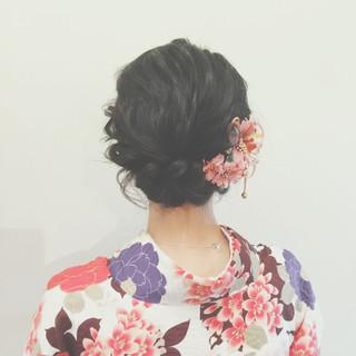 謝恩会 ショート 簡単ヘアアレンジ ゆるふわ ヘアスタイルや髪型の写真・画像