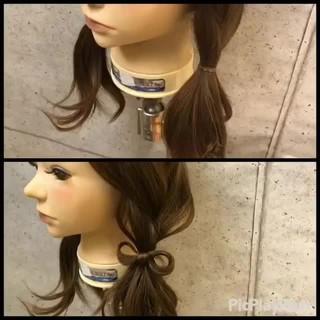 ガーリー 簡単ヘアアレンジ ミディアム ヘアアレンジ ヘアスタイルや髪型の写真・画像