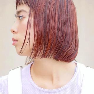 大人女子 ボブ ナチュラル オレンジカラー ヘアスタイルや髪型の写真・画像